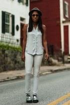 silver creeper TUK shoes - heather gray felt H&M hat