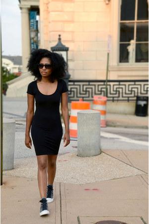 navy denim Converse shoes - black cotton asos dress
