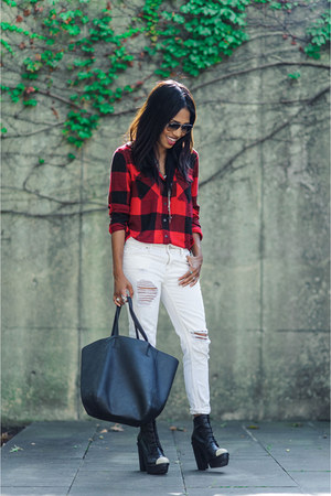 ruby red flannel Urban Outfitters shirt - black leather Miista boots