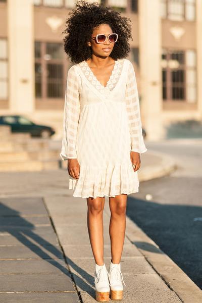 beige lace cotton free people dress - tan Deandri shoes