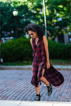 black leather Jeffrey Campbell boots - maroon cotton plaid BDG dress