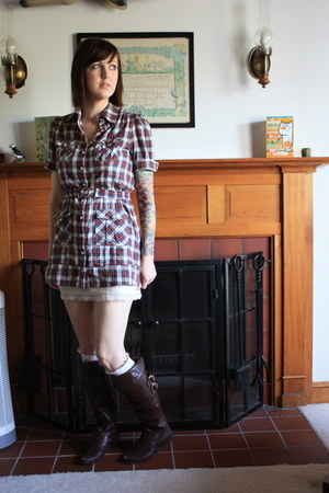 modcloth boots - Forever 21 dress - Urban Outfitters dress - Target socks