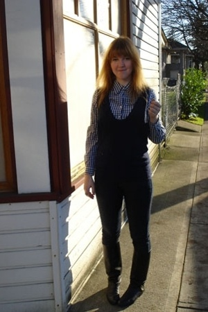 cheap jeans - lifetime collective vest - vintage shirt - Secondhand shoes