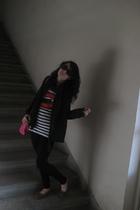Koton blazer - H&M t-shirt - black Zara tights - H&M purse