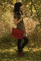Madden Girl boots - Forever 21 dress - cambridge satchel purse