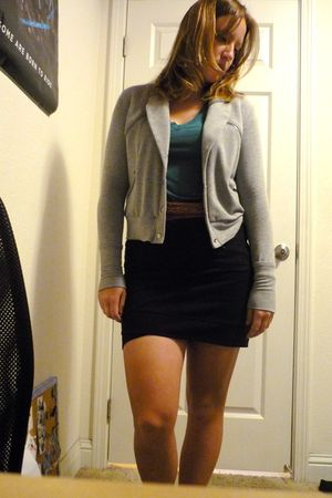 brown belt - black skirt - blue shirt - black shoes - gray jacket