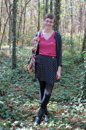 ruby red Target shirt - black vintage boots - black Target tights