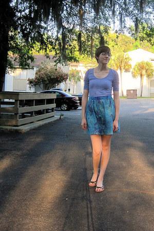 periwinkle Forever 21 shirt - turquoise blue tie dye brocade handmade skirt