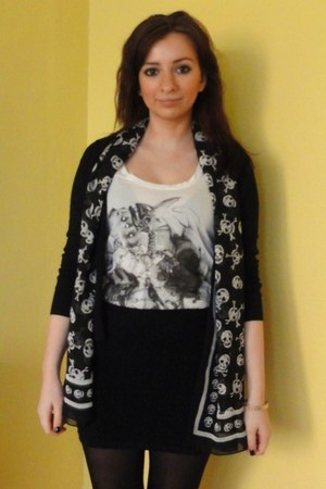 Laura Ashley cardigan - Topshop skirt - All Saints vest
