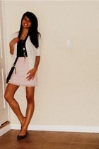 white cardigan - black blouse - pink skirt