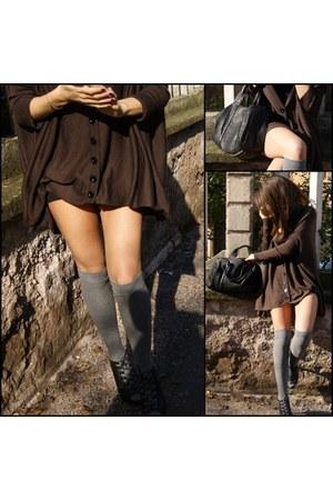 black Aldo shoes - heather gray Stephanel tights - black Alexander Wang bag