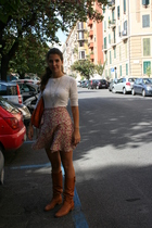 brown Patrizia Pepe boots - pink market in rome skirt - white American Eagle t-s