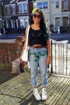 mom Levis jeans - Primark hat - white la moda bag - Topshop vest