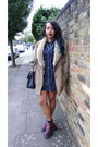 Agyness-deyn-dr-martens-boots-denim-warehouse-dress-shearling-vintage-coat