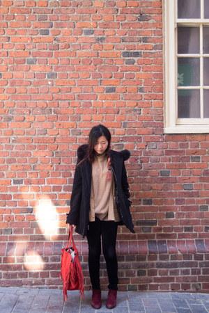 black Sachi coat - maroon suede sam edelman boots