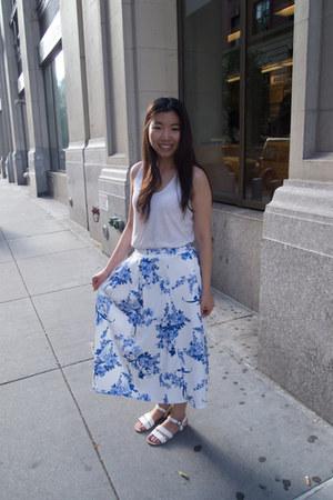 blue midi Boohoo skirt - white tank top JCrew top - white Topshop sandals