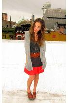 brown Via Spiga clogs - orange Forever 21 skirt - gray Forever 21 blouse - silve