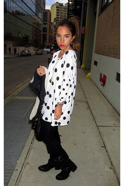 black vera wang lavender label boots - black Tea coat - white H&M shirt