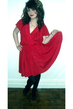 Penneys Primark heels - red flowy Dunnes dress - leopard print Dunnes scarf