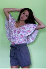 Gray-h-m-shorts-white-h-m-blouse
