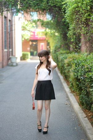 Loft top - Dolce Vita shoes - coach bag - JCrew skirt