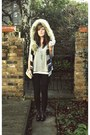 Black-cheap-monday-jeans-off-white-fur-hooded-zara-vest-heather-gray-topshop
