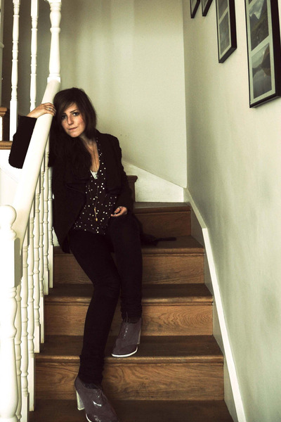 Cheap Monday jeans - Gap jacket - silk yaya nom de plume top - Kenneth Cole heel