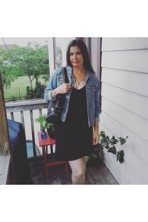 black Ardene dress - blue denim jacket Ardene jacket