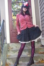 Zara-blouse-jacket-stockings-boots-betsey-johnson-coat-hat
