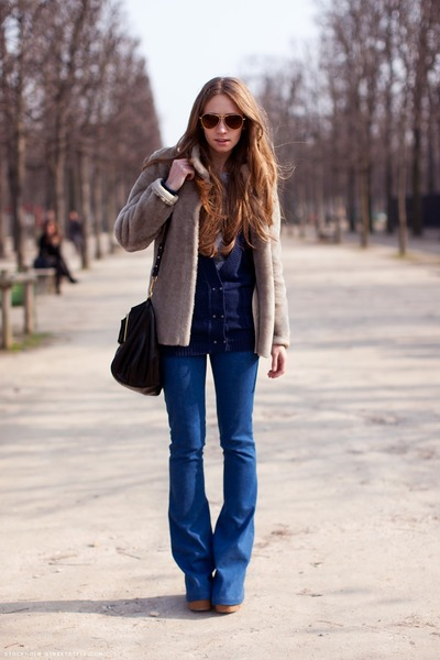 tan Tan Coat coat - blue flared jeans jeans - messenger bag bag - sunnies sungla