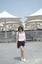 white oxfords shoes - eggshell shirt - brown Esprit bag - navy shorts