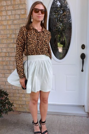 leopard print H&M shirt - black thrifted vintage bag
