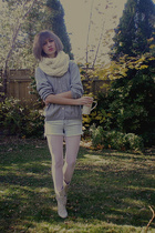 white scarf - gray sweater - white tights - white