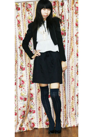 black jacket - black skirt - white blouse - blue socks