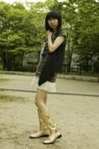 top - vest - skirt - boots - accessories