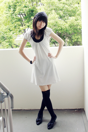 white dress - black socks - black bracelet - black shoes - white accessories - b