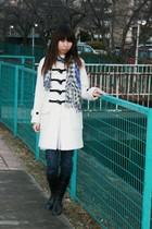 white Gap coat - navy c-seventeen jeans - black boots - violet Rosebud scarf