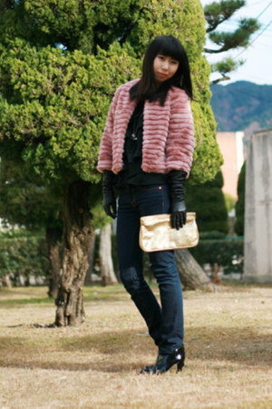 pink coat - black strawberry-fields boots - navy J Brand jeans - gold Guess bag