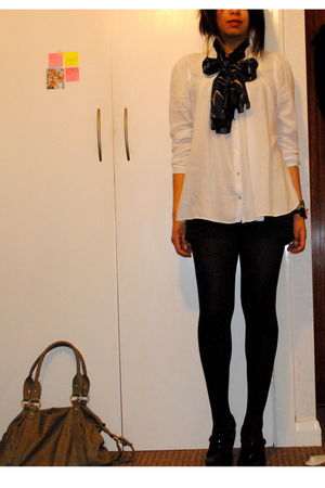 white Zara blouse - blue vintage scarf - black Melissa shoes