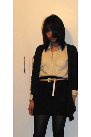 unknown brand blouse - black Topshop cardigan - warehouse shirt
