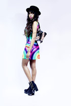 Ebay boots - romwe dress - H&M hat - Ebay bag