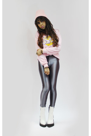 Sheinside sweater - Jeffrey Campbell boots - American Apparel pants