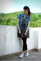 blue denim Nara shirt - black floral H&M dress - off white cotton Superga flats