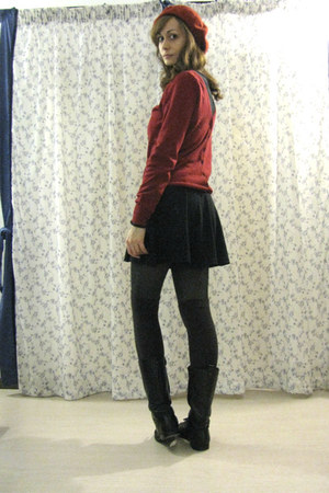 black Zara boots - black skater vintage dress - ruby red beret hat
