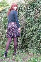 ruby red floral Dorothy Perkins dress - brown tights