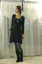 black Zara boots - black dress - heather gray tezenis leggings