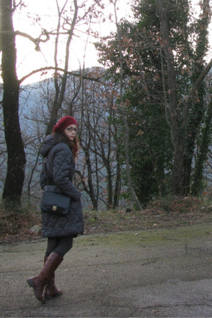 maroon leather boots - maroon beret handmade hat - charcoal gray padded jacket