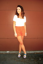 orange high waisted Forever 21 shorts - cream Nordstrom top - blue wedge sandal