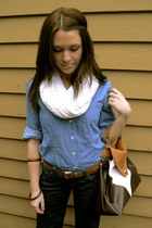 blue Miss Me jeans - blue denim button up Old Navy shirt - ivory knit thrifted s