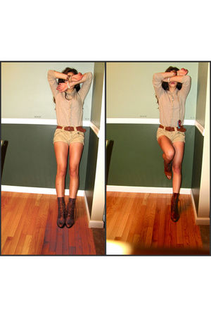 brown Anthropologie shoes - beige American Eagle shorts - beige JCrew cardigan -